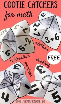 These FREE Cootie Catchers are fun math games great for practicing addition, subtraction and doubling to ten plus number recognition! This free printable math activity is perfect for Preschool, PreK, Printable Math Games, Fun Math Games, Free Printable, Grade 2 Math Games, 1st Grade Activities, Math Games For Kindergarten, Third Grade Math Games, Math Addition Games, Math Activities For Kids