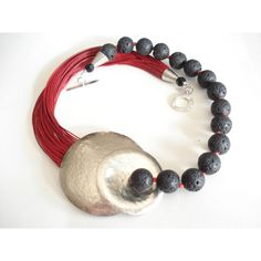Multi Strand Statement Necklace Hammered Silver Necklace Modern Chic... (€74) via Polyvore featuring jewelry, necklaces, annarecycle, beaded statement necklace, multi strand silver necklace, red bead necklace, seed bead necklace and silver statement necklace