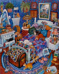 """BILL BELL is a self-taught artist, who paints memories & impressions of people, places, pets, events, & dreams that have shaped his life. He works with acrylic for the speed necessary to organize the concept, color & """"clutter"""". Rarely utilizing a central focus, he says the fun is in discovering the details (Seen here: """"Blue Bedroom Cats"""") / http://www.billbellstudio.com"""