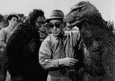 Toho Studios effects director Eiji Tsuburaya on the set of Kingu Kongu tai Gojira, aka King Kong vs. Godzilla.