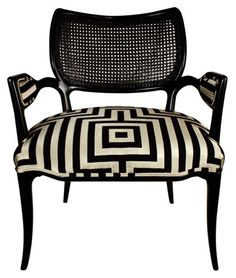 Hollywood Regency Black lacquered chair with geometric Hicks .