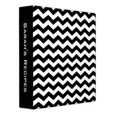 Personalized Black and White Chevron Recipe Binder $20.95