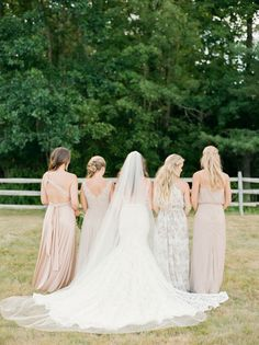 Bridesmaids stick together! http://www.stylemepretty.com/little-black-book-blog/2016/10/14/romantic-backyard-new-hampshire-wedding/ Photography: Ruth Eileen - http://rutheileenphotography.com/