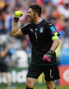 Gianluigi Buffon of Italy celebrates his team's second goal during the UEFA EURO 2016 round of 16 match between Italy and Spain at Stade de France on June 27, 2016 in Paris, France.