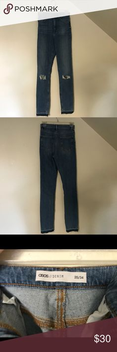 ASOS ripped Mom jeans, long, light wash These are some released-hem ASOS Mom jeans. They're a 25/34 so they're great for someone taller or someone who likes the rolled hem look! Slight stretch. ASOS Jeans