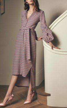 Helga Crocheted Striped Midi Dress by Hellessy