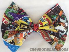 This is a large Marvel comics bow. Perfect for your hair or to clip onto your purse!  This bow measures 4.5 inches x 6 inches.  All bows come on a double prong alligator clip.