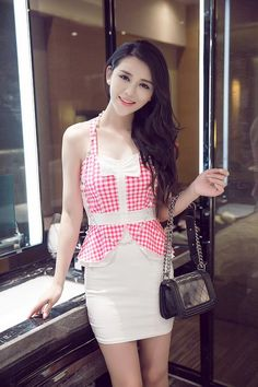 DR001592 Sweet chest bow sleeveless fashion plaid dress