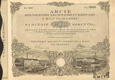 A2135 / Muzeum cennych papiru / Rolnický akciový cukrovar v Háji ve Slezsku akcie na majitele (Inhaberaktie) 200 Kč, Háj 20.12.1924 / AZP3CZ142 Retro Vector, Vector Design, Vintage World Maps, Sugar