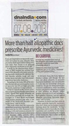More than half allopathic Docs prescribes #Ayurveda Medicine...Be careful...!