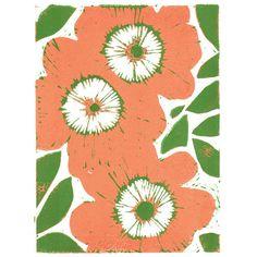 Retro flowers lino print - Folksy