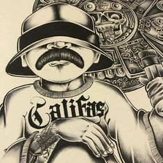 Cholo Tattoo, Chicano Art Tattoos, Chicano Drawings, Chicano Lettering, Graffiti Lettering, Arte Cholo, Cholo Art, Aztec Tattoos Sleeve, Gangster Drawings