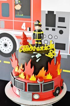 Sound the Alarm for Maverick's Fire Truck Birthday Party! – Project Nurs… Sound the Alarm for Maverick's Fire Truck Birthday Party! Firefighter Birthday Cakes, Fireman Cake, Truck Birthday Cakes, Fireman Party, Bolo Chanel, Fire Fighter Cake, Bolo Mickey, 4th Birthday Parties, 3rd Birthday