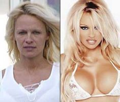 Amazing testament to the power of Makeup / which of course for print is only the beginning considering how much they change things with Photoshop ! Here's Pamela Anderson and so many others ! Celebs Without Makeup, Amanda, Makeup Gallery, Celebrities Before And After, Power Of Makeup, No Photoshop, Makeup Photoshop, Plastic Surgery, Celebrity Pictures