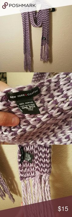 3/$10 SALE  New York & Co. scarf - LONG & WARM! Purple scarf 100% acrylic.   One size from New York & Company.  This is very, very long--approximately 87 inches not counting the end fringe & can be worn many ways. It's very, very soft-- and fluffy. See picture 4 for texture.  A few pulls, which can be hidden.  Otherwise in great condition! New York & Company Accessories Scarves & Wraps