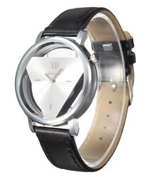Inverted Triangle Synthetic Leather Band Analog Women/Men's Quartz Watch