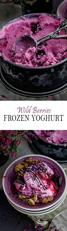 Wild Berry Frozen Yoghurt with Toppings   Berriger Frozen Yoghurt mit Toppings