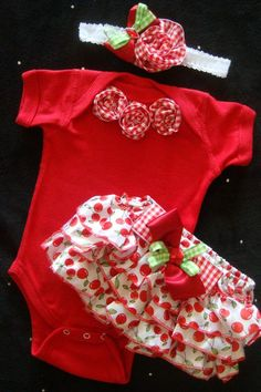 Newborn baby girl cherries gingham take me home outfit bloomers onesie headband red green rosettes bows