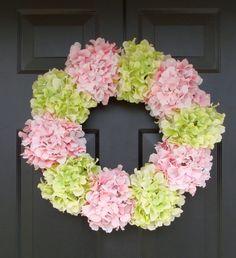 Hydrangea Wreath- Summer Wreath- Shabby Chic Wreath- Custom Colors XL Front Door Wreath- 25 inch Spring Wreath for Door