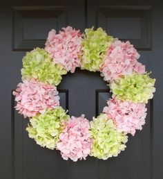 Hydrangea Wreath- Summer Wreath- Shabby Chic Wreath- Custom Colors XL Front Door Wreath- 25 inch Spring Wreath for Door  SALE via Etsy