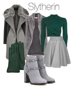 """""""Slytherin Winter"""" by hilldod90 on Polyvore featuring River Island, DKNY, Forzieri, Topshop, MSGM and Valentino"""