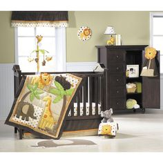 Sunny Safari 4-Piece Crib Set by Carter's, Set includes 1 fitted sheet, quilt, dust ruffle and blanket for $160