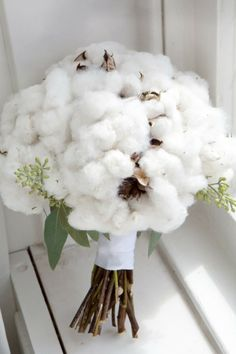 Cotton Bridal Bouquet.  Pinned by Afloral.com from http://mossandmarsh.tumblr.com/post/19295844410 ~Afloral.com has high-quality seeded eucalyptus and cotton stalks for your DIY wedding bouquet.
