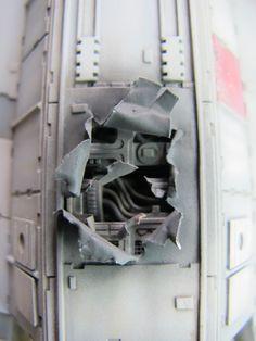 Millenium Falcon damage details Millennium Falcon Model, Falcon 1, Sf Movies, Star Wars Design, Sci Fi Models, Star Wars Models, Model Hobbies, Rebel Alliance, Star Wars Ships