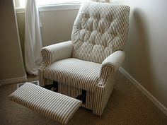Re-covering a recliner, no sewing necessary! This may be my first real DIY project from Pinterest!