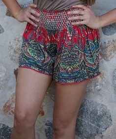 Another great find on #zulily! Red Arabesque Smocked-Waist Shorts by Angie Apparel #zulilyfinds
