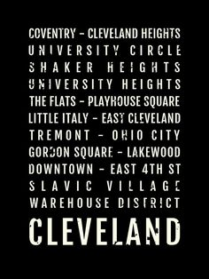 Cleveland Ohio Print - Neighborhoods - Subway Poster, Boyfriend Gift, Fathers Day, Wall Art, Train Scroll, Bus Scroll, Word Art, Typography