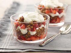 Layered with vanilla yogurt, homemade granola and fresh berries, this Yogurt and Granola Trifle makes a satisfying snack, breakfast or dessert.