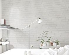 White Brick Wall Ideas to Change your Room Look Great - Home Curiousity Brick Wallpaper Self Adhesive, Brick Wallpaper Peel And Stick, White Brick Wallpaper, White Brick Walls, Black And White Wallpaper, Nursery Wallpaper, Of Wallpaper, Wallpaper Ideas, White Desk Bedroom