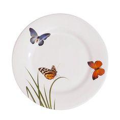 Prato Sobremesa Flat Butterfly Porto Brasil Cerâmica