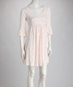 Pink & White Lace Bell-Sleeve Scoop Neck Dress by Reborn Collection #zulily #zulilyfinds