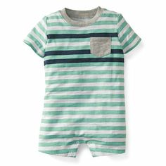 Potential Coming home outfit for boy   Slub Jersey Striped Romper   Carters