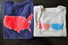 applique shirts for july 4th. Can use for a pretty valentines heart too.