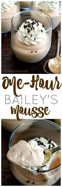 This velvety smooth, ultra creamy Bailey's Mousse recipe is SO EASY and is made in ONE hour! Keep this recipe on hand for when your chocolaty mood strikes!
