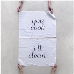 Tea(m) Towels - tea towel set of 2 - cook and clean - eco-friendly wedding gift / hostess gift - kitchen towels - spring cleaning. $32.00, via Etsy.