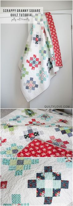 Scrappy Granny Square quilt tutorial by Emily of quiltylove.com.  Scrappy quilt uses Daysail fabric by Bonnie and Camille.   Click through for a free tutorial!