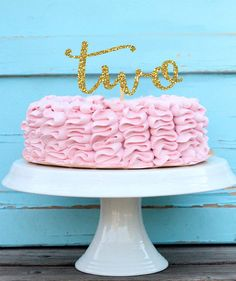 Two Year Old Cake Topper - Two Cake Topper - Glitter Two Topper - Second…