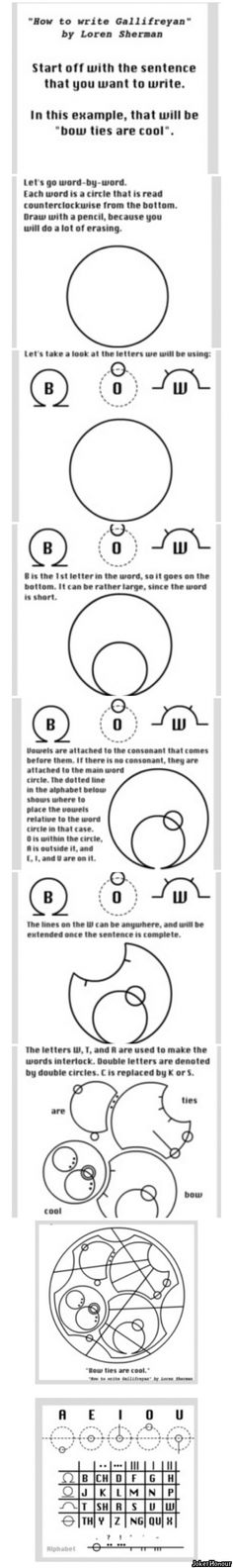 How to write in Gallifreyan sorry pinning this again because I am doing it and I need this to be right next to the one about the vowels thanks for playin'