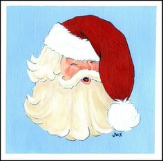 Set of 4 Hand Painted Christmas Cards Santa by jenniferwklein