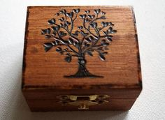 Rustic Wedding Wood Box Olive Tree of Life Love Birds Brown