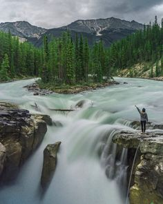 Sunwapta falls in Canada by Rafael Classen on Travel Around The World, Around The Worlds, Destinations, Jolie Photo, Ways Of Seeing, North America, Nature, Waterfall, Travel Photography