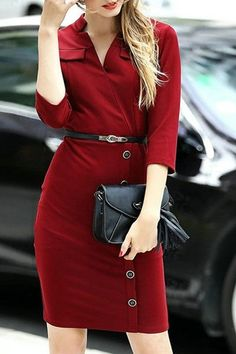 Latest fashion trends: Women's fashion | Button up chic burgundy dress