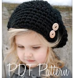 Not sure if I like the hat or the sweet litle girl more.  Crochet PATTERN-The Zoie Slouchy (Toddler, Child, and Adult sizes)