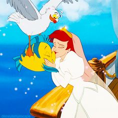 *SCUTTLE, FLOUNDER + ARIEL ~ The Little Mermaid, 1989....Ariel-wedding