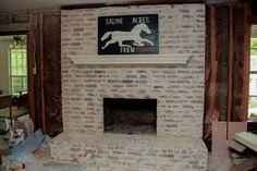 Fire place makeover. Brick Mortar Washing technique.  AKA German Smear. Step by stepTutorial and video!