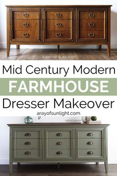 Mid Century Modern Farmhouse Dresser in Olive GreenTurn your mid century modern dresser into a unique farmhouse style masterpiece! This 9 drawer dresser was painted in olive green furniture paint with heavy distressing and farmhouse Green Dresser, Green Furniture, Green Dresser Makeover, Farmhouse Furniture, Farmhouse Dresser, Mid Century Modern Dresser, Furniture Makeover, Furniture Plans, Painted Dresser